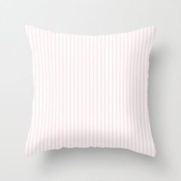 Light Soft Pastel Pink and White Mattress Ticking Throw Pillow