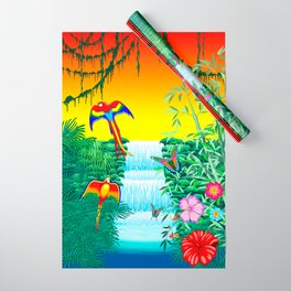 Waterfall Macaws and Butterflies on Exotic Landscape in the Jungle Naif Style Wrapping Paper