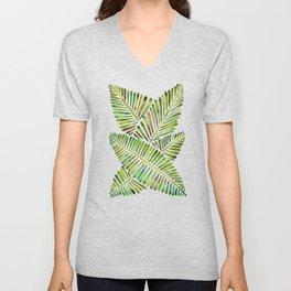 Tropical Banana Leaves – Green Palette Unisex V-Neck
