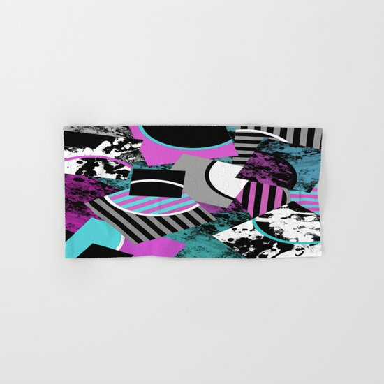 Cluttered Sqaures - Abstract, geometric, stripes, pink, cyan, blue, textured, black, white, arcs Hand & Bath Towel