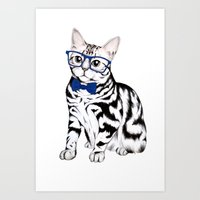 kitty Art Prints featuring Kitty by 13 Styx