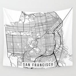 San Francisco Map, California USA - Black & White Portrait Wall Tapestry