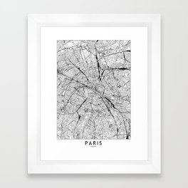 Paris White Map Framed Art Print