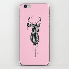 Deer Head III (pastel pink) iPhone Skin