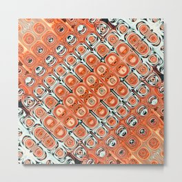 Orange Glass Beads Abstract Metal Print