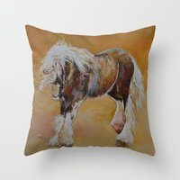 pony Throw Pillows featuring Gypsy Pony by Michael Creese