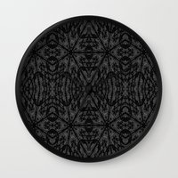 gray pattern Wall Clocks featuring Slate Gray Black Pattern by 2sweet4words Designs