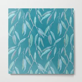 Eucalyptus leaves on bright blue Metal Print