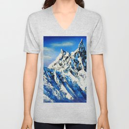 Panoramic View Of Everest Mountain Peak Unisex V-Neck