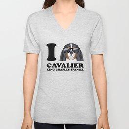 I Love Cavalier King Charles Spaniel modern v1 Unisex V-Neck