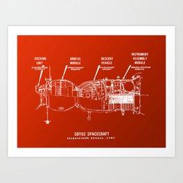 Red Soyuz Art Print