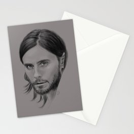 Jared Leto Digital Portrait grey LLFD Stationery Cards