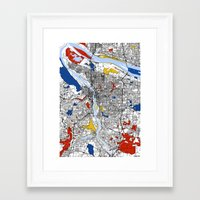 portland Framed Art Prints featuring Portland by Mondrian Maps