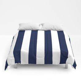 Navy Blue Bold Vertical Stripe Line Minimal Stripes Lines Comforters