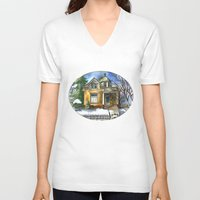 matty healy V-neck T-shirts featuring The Little Brown House by Shelley Ylst Art