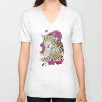 jaguar V-neck T-shirts featuring Jaguar by Kyra Kalageorgi