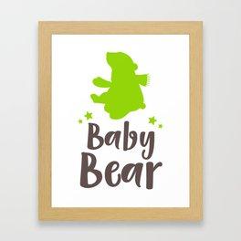 Baby Bear, Little Bear, Bear Cub - Green Brown Framed Art Print