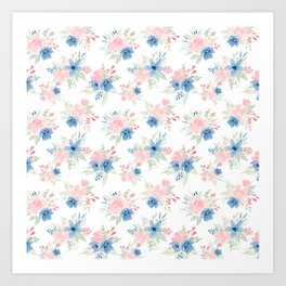 Blush Pink and Navy Watercolor Florals Art Print