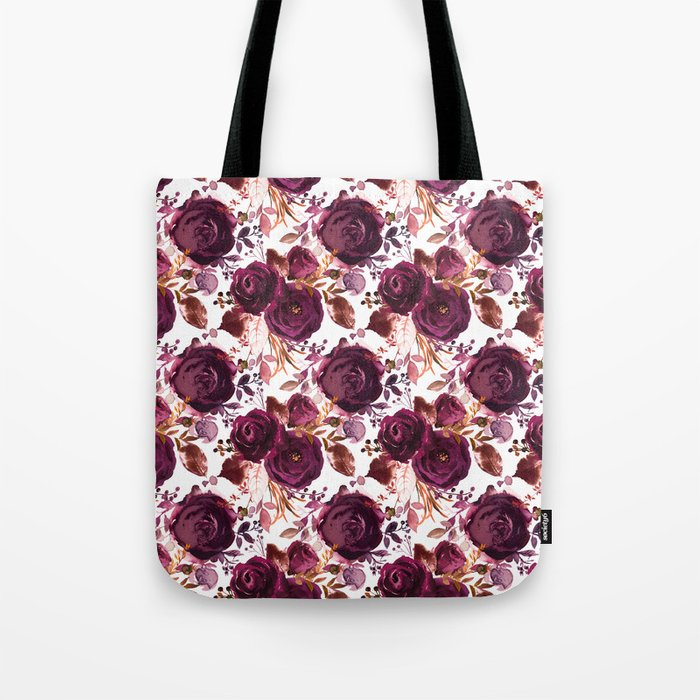 Burgundy pink white watercolor hand painted floral Tote Bag