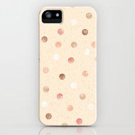 Modern retro polka dots painting on pastel background illustration pattern iPhone Case