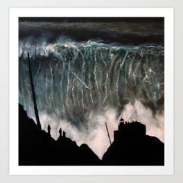 Monsters of Nazare (oil on canvas) Art Print