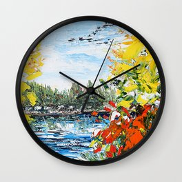 Landscape painting- The departure - by LiliFlore Wall Clock