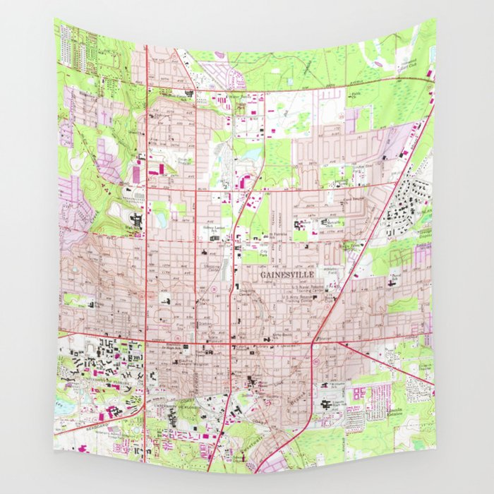 Vintage Map Of Gainesville Florida 1966 Wall Tapestry By