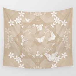 Dreamy butterflies and mandala in iced coffee Wall Tapestry