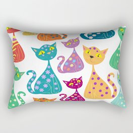 Multi colored cats Rectangular Pillow