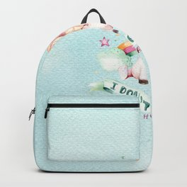 Magical pink teal watercolor rainbow unicorn typography Backpack