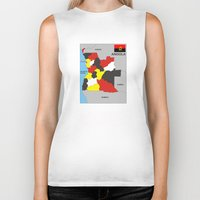 political Biker Tanks featuring political map of Angola country with flag by tony tudor