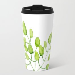Watercolor green leaves Travel Mug
