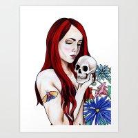 redhead Art Prints featuring Redhead by Margret Stewart