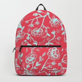 Watercolor Peonies - Guava Mint Backpack