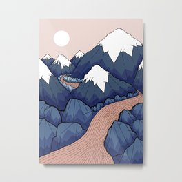 The twisting river in the mountains Metal Print