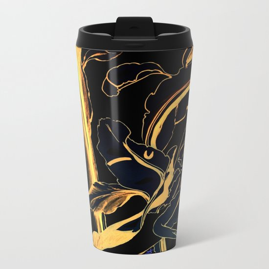 Plant in Blue Marker - Leaf of Life Miracle Leaf - Black and Gold Metal Travel Mug