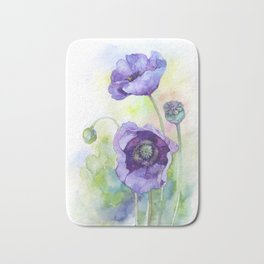 Watercolor blue poppy flowers Bath Mat