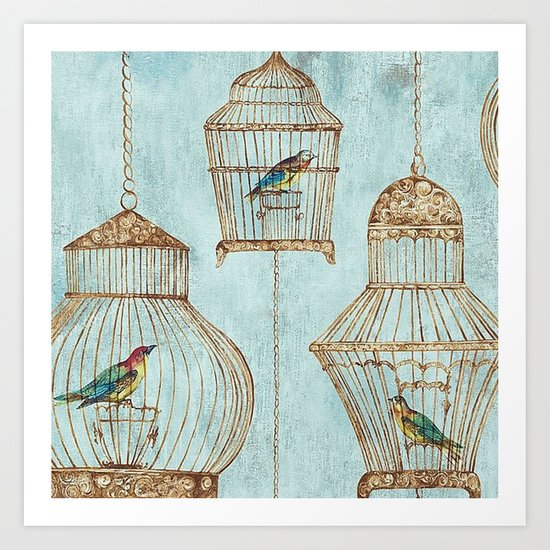 Vintage dream- Exotic colorful birds in cages on aqua background #Society6 Art Print