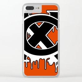 """XC"" Drip Logo Black/White/Orange Clear iPhone Case"