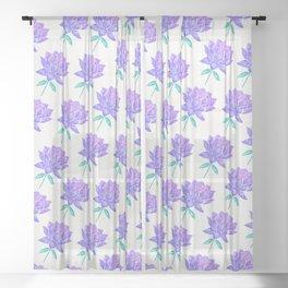 Sacred Lotus Blossom – Amethyst Turquoise Sheer Curtain