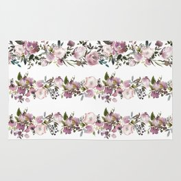 Girly pink lilac teal watercolor floral stripes pattern Rug