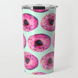 girly cute mint pink donut pattern Travel Mug