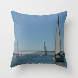boats and bridges Throw Pillow