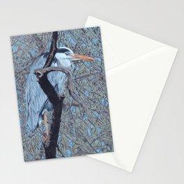 Grey Heron (Ardea Cinerea) Colored Pencils Artwork Stationery Cards