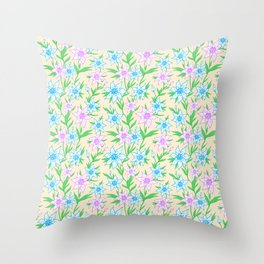 Pink and Blue Flower Pattern   (Spring Series) Throw Pillow