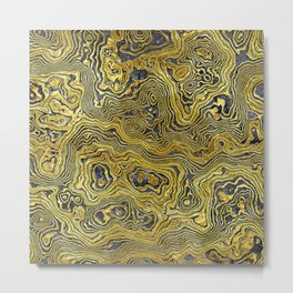 Abstract Black Gold Marble Metal Print