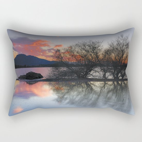 Trees in the water at the red sunset Rectangular Pillow