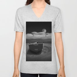 Row Boat on a Sandy Beach in Biscayne Bay Florida Unisex V-Neck