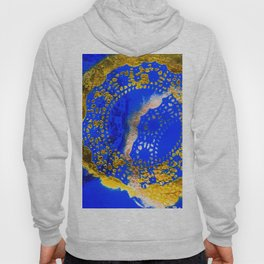 Royal Blue and Gold Abstract Lace Design Hoody