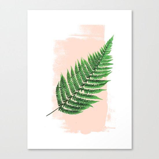 Fern Leaf on Pink Canvas Print
